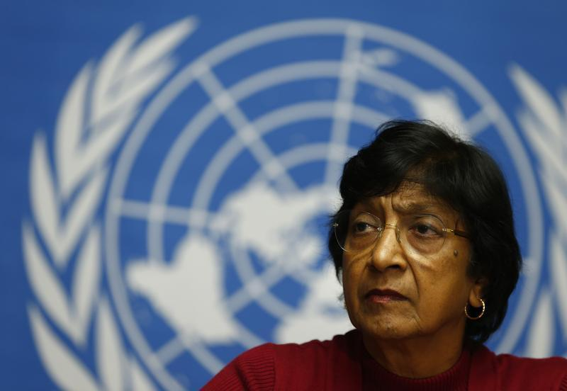 UN High Commissioner for Human Rights Pillay attends a news conference at the United Nations in Geneva